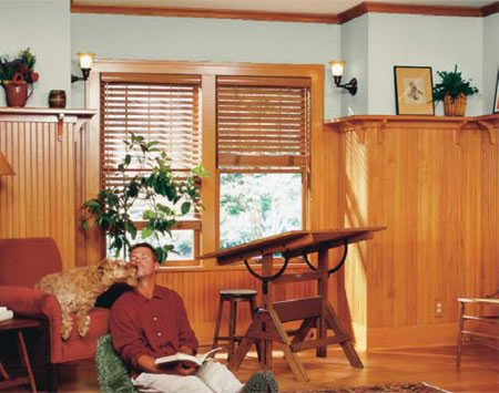 <b>The finished room</b></br> Wood wainscoting warms and adds character to any room.