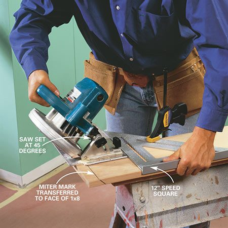 <b>Photo 4: Miter outside corners</b></br> Miter the baseboard by clamping a large square in position and using it to guide the saw. Set the saw to cut a 45-degree bevel for outside corner pieces.