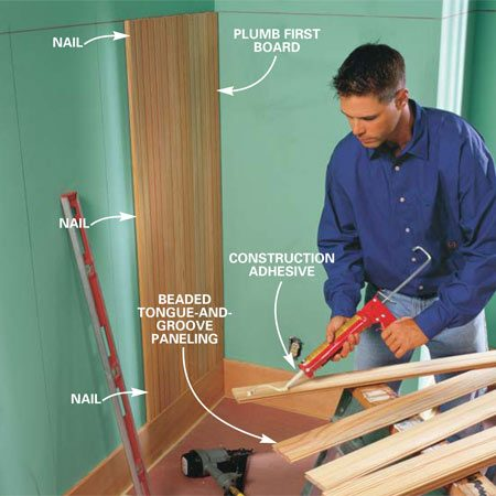 <b>Photo 5: Plumb the first board</b></br> Plumb the first board with a 4-ft. level, apply glue and nail it to the wall.