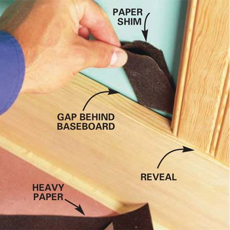 <b>Photo 7: Shim the bottoms</b></br> Shim gaps between the wavy wall and the baseboard with layers of heavy paper so the reveal remains the same. Place shimming material so half is behind the base and half is behind the tongue-and-groove paneling.