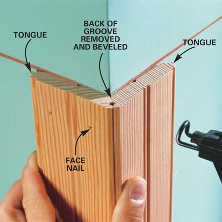 <b>Photo 8: Start at outside corners </b></br> Assemble outside corners by cutting off the backside of the grooves at a 45-degree angle and aligning the front of the grooves as shown. Glue and face-nail the boards to the corner studs with the tongues facing away from the corner.