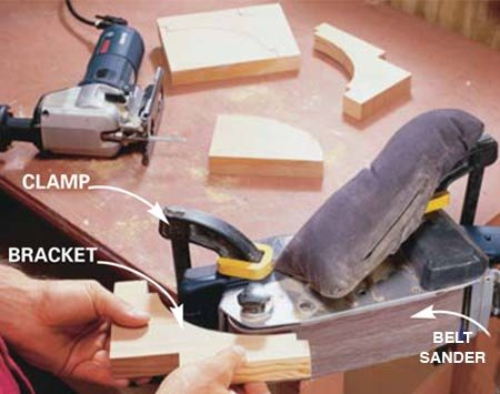 <b>Photo 14: Shape the brackets </b></br> Cut out brackets with a jigsaw and sand the curve with a belt sander or sandpaper wrapped around a wooden dowel.