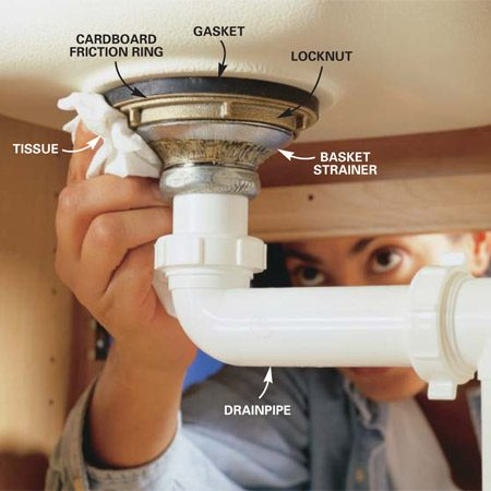 How to replace a kitchen sink basket strainer the family for Replace bathroom sink drain assembly