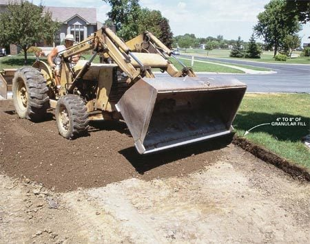 <b>1: Thick, well-compacted granular base</b></br> Eight inches of granular fill is used for poor-draining soils, 4 in. for well-draining soils.