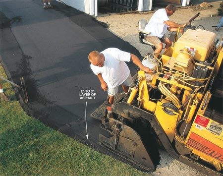 <b>2: Proper asphalt thickness</b></br> A 2-in. layer of asphalt is spread after the fill has settled for several days.