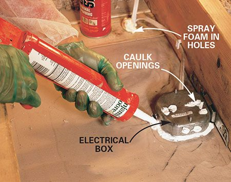 <b>Photo 9: Fill wiring penetrations</b></br> Fill wiring and plumbing holes with expanding foam. Caulk around electrical junction boxes and fill holes in the box with caulk.