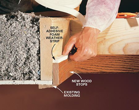 <b>Photo 10: Seal the attic access</b></br> Weatherstrip the attic access hatch or door. Cut 1x3 boards to fit the perimeter of the opening and nail them on with 6d finish nails. Apply self-adhesive foam weatherstrip tape to the top edge of the stop.