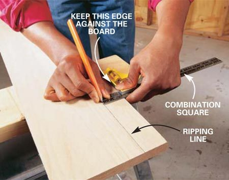 <b>Photo 2: Draw a guideline</b></br> Draw a guideline parallel to the edge of the board with a combination square and pencil. Press the fence of the combination square snug against the board as you slide it along.