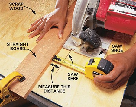 <b>Photo 1: Clamp a straightedge</b></br> Clamp a straightedge to a scrap of lumber. Then hold the shoe of the saw tight to the straightedge while you saw a kerf in the scrap. Measure and record the exact distance between the straightedge and the inside edge of the saw kerf.