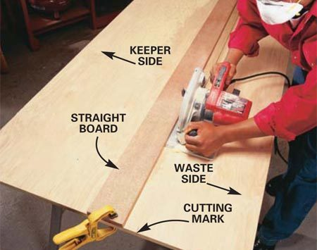 <b>Photo 3: Slide the saw's shoe</b></br> Slide the saw's shoe against the straightedge to rip the plywood. To ensure a straight cut, press the saw firmly against the straightedge as you push it along.