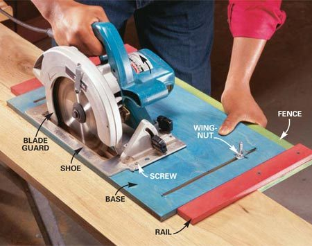 <b>Photo 1: Using the jig</b></br> Measure between the blade and the fence to set the width of the rip and tighten the Wing-Nuts. Measure at both the front and back edges of the blade to align the fence parallel to the blade. Clamp or tack the board to sawhorses and slide the saw and jig the full length of the board.