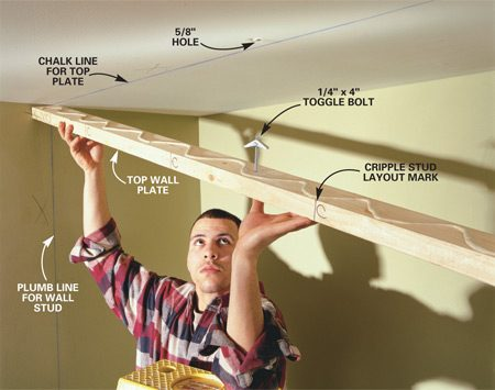<b>Photo 4: Attach the top plate</b></br> SCREW  the top plate to the joists with 3-in. screws where they intersect, or attach the  plates with construction adhesive and toggle bolts where there are no joists to  screw into. Secure the ends of the plates with 3-in. drywall screws driven at  an angle to catch ceiling nailers (Fig. A).