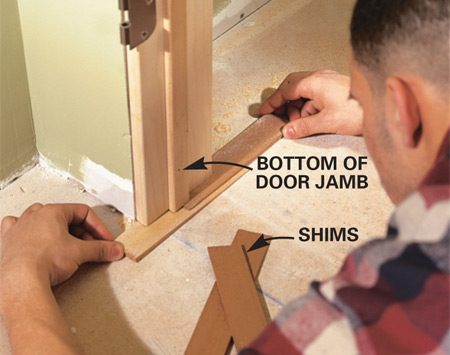 <b>Detail of door jamb bottom</b><br/>SHIM under the side jamb on the low side until the head jamb is exactly level.