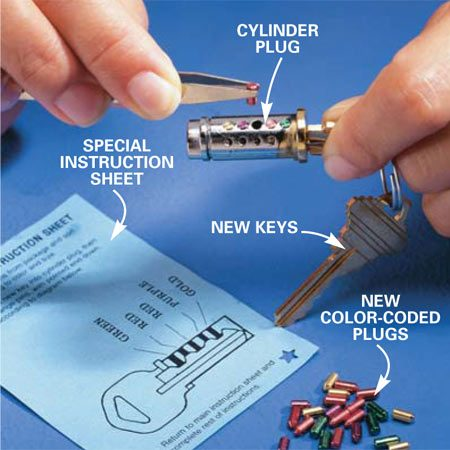 <b>Photo 5: Match the colored pins to the color code. </b></br> Dump out the old pins, insert the new key, and use a tweezers or small needle-nose pliers to match the new colored pins to the color code on the special instruction sheet.