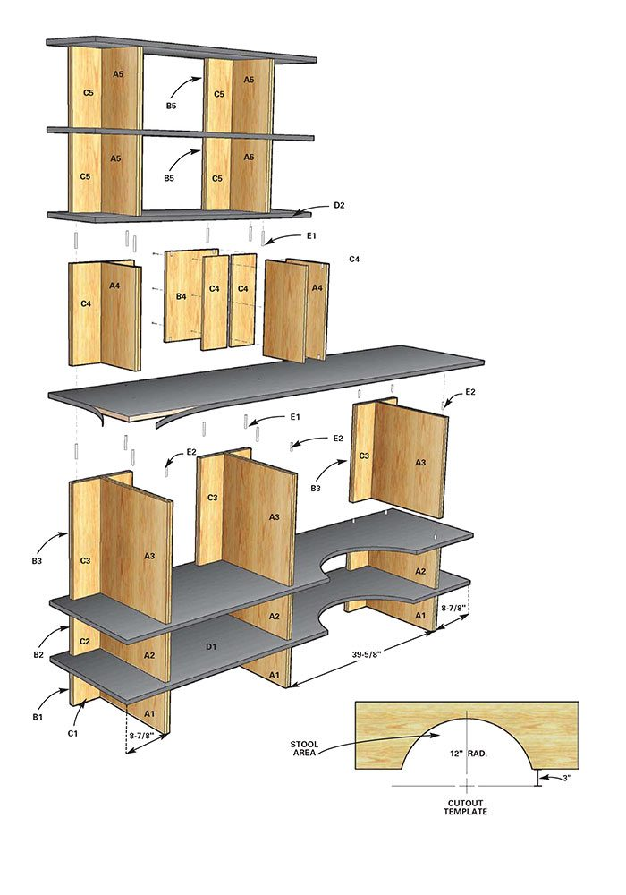 Figure A shows the construction details of the stackable shelves.