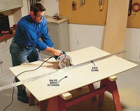 <b>Photo 1: Rip the pieces</b></br> <p>Rip your 1/2-in. plywood into pieces to make the standards, then cut the lengths with a circular saw. Cutting large sheets with a straightedge guide and a circular saw is easier than wrestling large sheets through a table saw.</p>