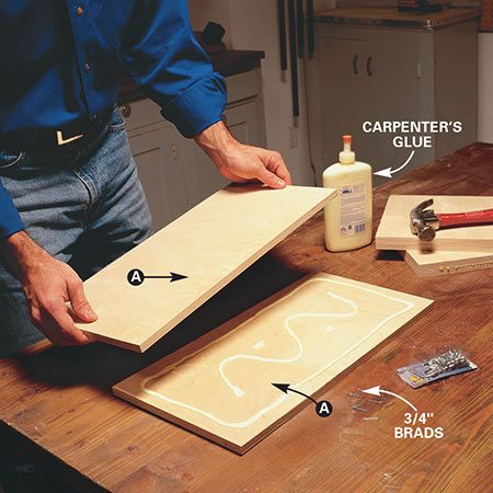 <b>Photo 2: Glue the part A's together</b></br> <p>Glue together the two pieces that make up part A of the standards. Nail the two pieces together at two corners with 3/4-in. brads once you've aligned them. This keeps them from drifting apart when you clamp them.</p>