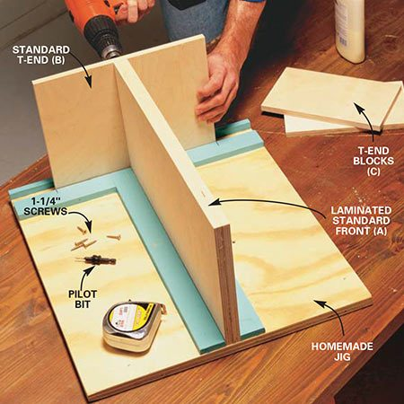 <b>Photo 4: Build the T-shaped standards</b></br> <p>Glue and screw the 1/2-in. plywood back (B) to the laminated part A to form the T-shape of the standard. Be sure to center the standard and make sure everything is aligned. The jig will help with the correct alignment.</p>
