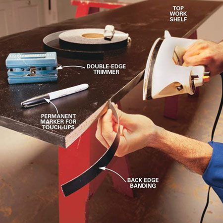 <b>Photo 9: Add the shelf edging</b></br> <p>Iron the preglued strips onto the edges of the shelves. Use a medium to high setting on the iron. When the glue has set, use a special edge trimmer (available at home centers) for perfect edges. After trimming the edges, sand the edges lightly with 220-grit sandpaper or a fine mill file.</p>