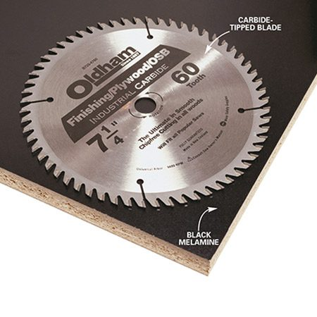 <b>Photo 10: Use a carbide-tooth blade</b></br> <p>Cut your Melamine or plywood using a 60-tooth carbide blade in your circular saw. Cut with the good side down to minimize chipping. If you're using black Melamine,you can hide minor chipping with a permanent marker.