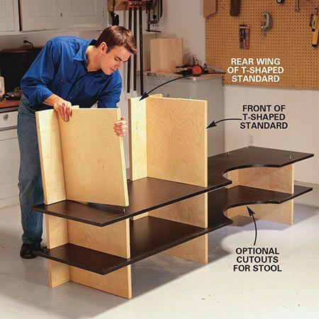<b>Photo 11: Stack the shelves and standards</b></br> <p>Assemble the standards and shelves one tier at a time. Begin by positioning the bottom standards, then continue adding shelves and standards.</p>