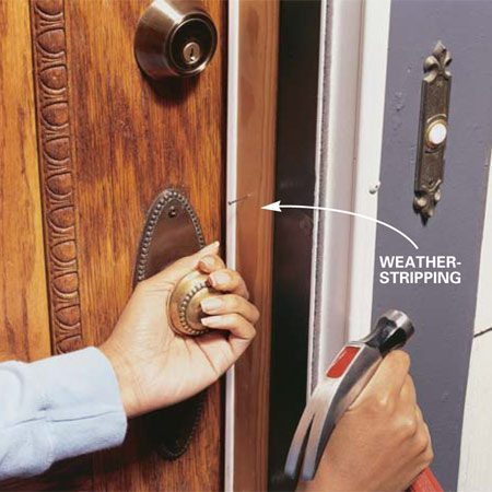 <b>Photo 7: Test the fit</b></br> <p>Open and close the door several times to make sure the weatherstripping seals against the door and the door latches and locks. Adjust the weatherstripping as needed. Drive the finish nails home.</p>