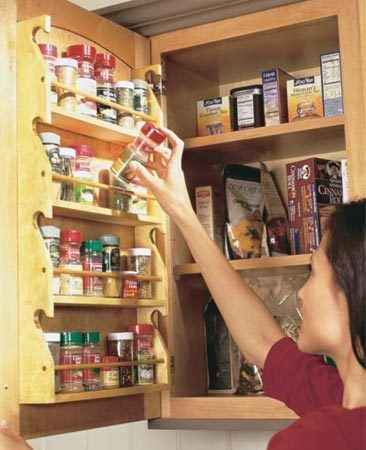 <b>Spice rack</b></br> Add a spice rack to an upper cabinet.