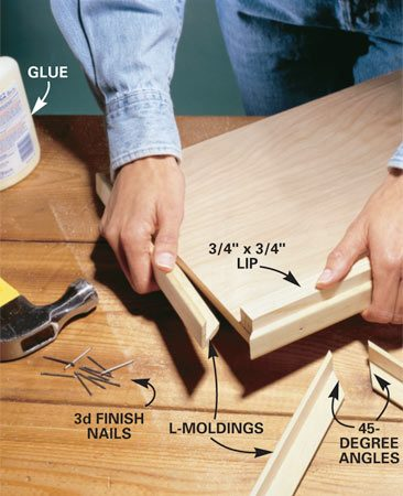 "<b>Photo 2: Install the lid to the front of the base </b></br> Glue and nail the 3/4 x 3/4-in. lip to the front of the base, then ""picture frame"" the plywood with L-moldings. For an exact measurement, cut one end at 45 degrees on a miter saw, hold it in position and mark the other end. Put a ""reminder mark"" on the board so you remember which direction to cut the angle. Secure the pieces with carpenter's glue and 3d nails."