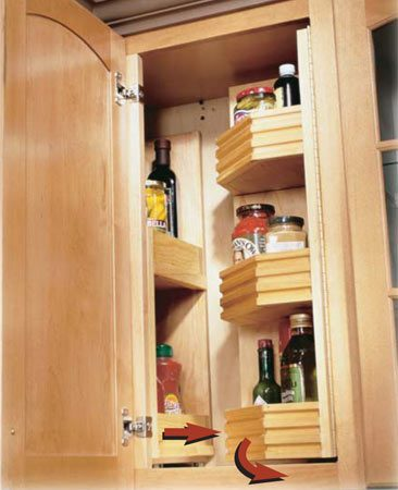 <b>Blind corner solutions</b></br> Access dead corner space with glide-out and swing-out shelves.