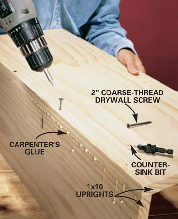 <b>Photo 5: Assemble the uprights.</b></br> Cut the 1x10 swing-out uprights to length and width (one should be 3/4 in. narrower than the other). Use a countersink bit to predrill holes along one edge, then glue and screw the two edges together. The diagonal measurement (see Fig. C) should be less than the cabinet opening.
