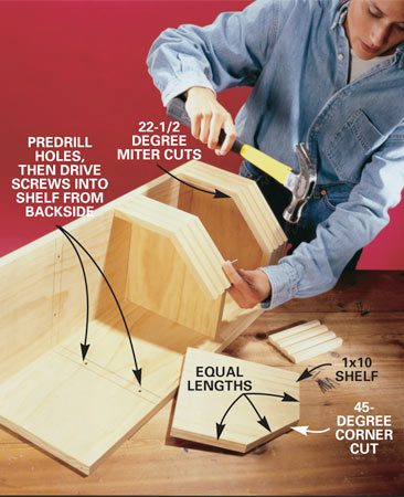 <b>Photo 6: Build the shelf unit.</b></br> Assemble the shelf unit. First mark the shelf positions on the uprights and pre-drill holes from the front side. Create the three shelves by cutting a 1x10 to length and width, then cutting the corner at 45 degrees. Hold the shelves in place and drive drywall screws through these holes from the backside into the shelves. Cut the 22-1/2 degree angles on the front moldings and secure them with 3d finish nails. You can use any type of wide decorative molding that's at least 1/2 x 3 in.