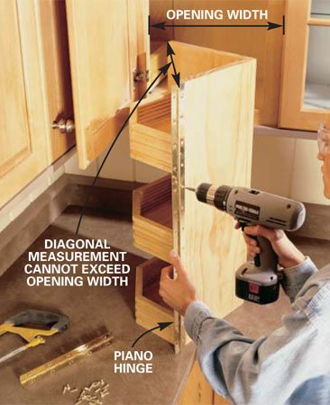 <b>Photo 7: Attach the piano hinge.</b></br> Screw the piano hinge to the front edge of the swing-out unit, then to the edge of the cabinet face frame. Make certain the swing-out has 1/2 in. of clearance top and bottom. Use an assistant to help you lift and hold the unit at the proper height while you're securing it to the cabinet.