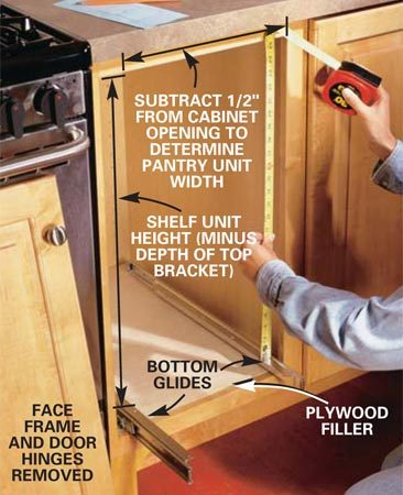 <b>Photo 1: Determine the roll-out size</b></br> Measure the cabinet face frame opening, then subtract the height of the top and bottom glides. Use the guidelines given to arrive at the depth, width and height of your pantry unit. Be sure to install the bottom glides so they run parallel to the cabinet sides. If necessary, use plywood to raise the cabinet bottom even with the bottom lip of the face frame.