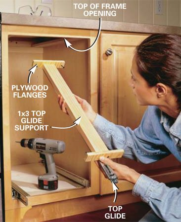 <b>Photo 2: Attach the glide supports. </b></br> Install the top glide support and top glide so the support is level and flush to the top of the frame opening. Screw plywood flanges to each end of the 1x3 support beforehand to make it simpler to secure it to the front and back of the cabinet.