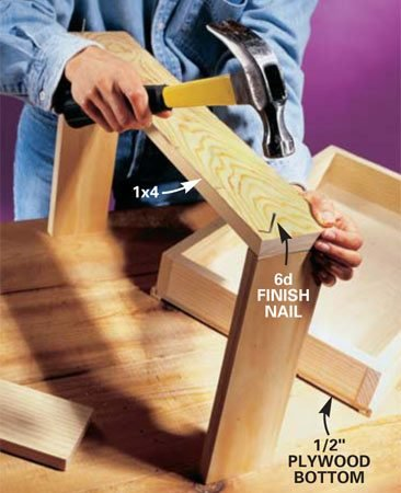"<b>Photo 3: Build the pantry trays </b></br> Assemble the pantry trays using 1x4s, 1x3s, 6d nails and carpenter's glue. Use the plywood bottoms to ""square up"" the trays before nailing them on. L-moldings support and cover the plywood edges of the upper two trays; 3/4-in. screen molding covers the exposed plywood edges of the bottom tray."