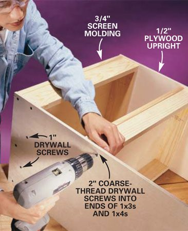 <b>Photo 4: Fasten the trays in place.</b></br> Secure the trays to the 1/2-in. plywood uprights using glue and drywall screws. Arrange the spacing of the trays to meet your needs.