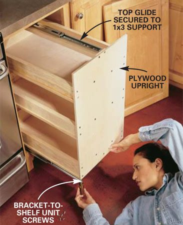 <b>Photo 5: Fasten the tray to the bottom runners. </b></br> Screw the tray assembly to the bottom runners, making sure it's centered in the opening and running parallel to the cabinet sides. The extended portion of the top slide is secured to a 1x3 screwed between the two plywood uprights. You can loosen this 1x3, then adjust the height so the top glide runs flat and smooth.