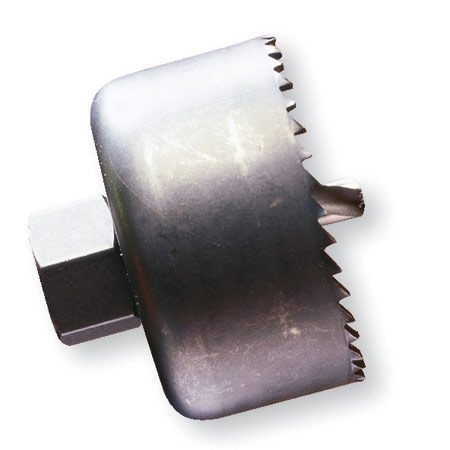 A hole saw is a steel cylinder with saw teeth cut into<br/> the top edge.