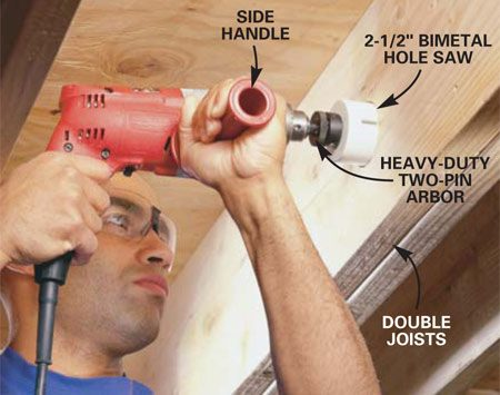<b>Photo 7: Use a side handle for deep or large holes</b></br> Drill until the hole saw reaches its full depth. Remember to withdraw the hole saw every five seconds or so to clear the sawdust from the groove. If your drill has a side handle like the one shown, use it to provide a firmer grip and better control.