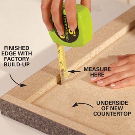 <b>Photo 1: Measure along the finished edge</b></br> Measure the hollow space under your new countertop for the correct build-up height. Your manufacturer can supply build-up strips or you can cut them yourself. Our measurement was 3/4 in., so we used 1x2s as build-up strips.