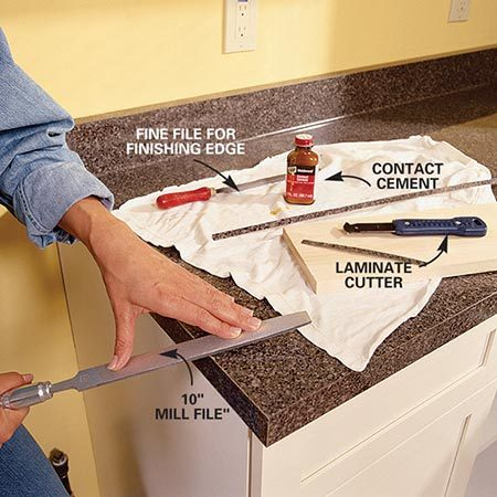 <b>Photo 12: File the end cap</b></br> Cut and glue the end cap for your trimmed end. Use a fine mill file to fine-tune the end cap so it conforms to the shape of your countertop. Use a half-round file for inside curves.