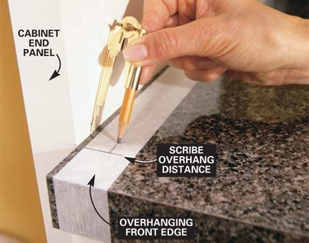 <b>Photo 15: Mark the left side of the countertop</b></br> Scribe the left side of the top, then cut along your mark with a handsaw, leaving the front edge to nestle around the end panel and create a notch return.