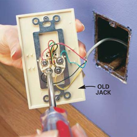 <b>Photo 1: Disconnect the old jack</b><br/>Loosen the terminal screws on the back of the jack and disconnect the wiring.