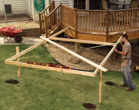 <b>Use the construction lumber as a template</b></br> You see it in print and on TV everywhere—some stake and board contraption set up to hold strings to help position postholes, or lay out footings or building footprints. But most of the time, there's a much better way. Tack together the construction lumber to outline the structure, square it up and use it as a giant template to do all your marking. Set it aside to do your digging and replace it to set the posts.