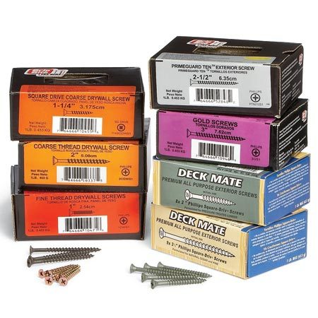 <b>Drywall screws are right for almost any job</b></br> No matter what you have to fasten, inside or out, there's almost always a drywall-style screw that can handle it. With thin, hardened shanks, aggressive coarse threads (fine threads are just for metal studs), and deep Phillips or square-drive heads, these screws are tough enough to drive into most woods without stripping or breaking, and usually without predrilling. Most pros keep a selection of coated exterior deck screws on hand for dependable fastening even in treated wood, and black, coarse-thread interior screws for everything indoors—along with a few stainless steel and gold-colored screws for special repairs like replacing stripped-out brass hinge screws.