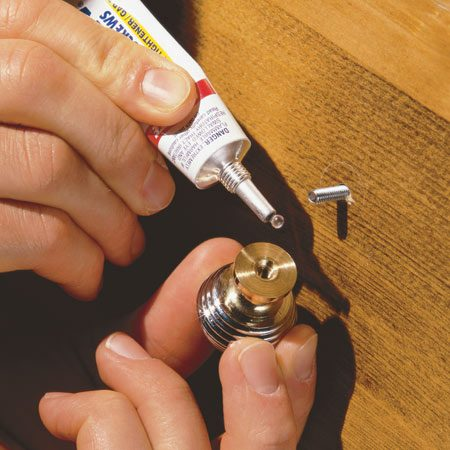 <b>Tighten loose handles and knobs permanently</b></br> For mysterious, quantum-mechanical reasons, the screws that hold handles and doorknobs always eventually work loose. A few drops of thread-locking compound will permanently fix the problem, yet still allow you to remove the screw with ordinary tools if you need to later. A heavier duty variety is also available for large bolts and machinery.
