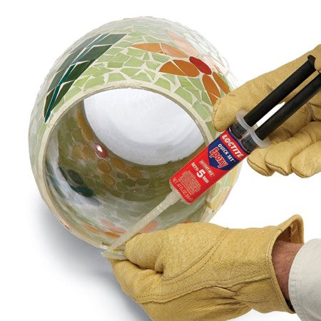 <b>Use two-part epoxy for tough glue repairs</b></br> Two-part epoxy glue is rock-hard, fills huge gaps, bonds to almost anything and dries very quickly. Some brands now come with an applicator tip that automatically mixes the two parts so you can spread it like a regular glue, without mixing. It's perfect for gluing irregular shapes and dissimilar materials to each other. Most epoxies set in five minutes, but you can buy quicker-setting types that allow you to just hold pieces in place for a minute, without any clamping.