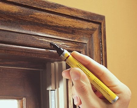 <b>Start with a lighter color</b></br> Start with a lighter color, and if the scratch still shows, go over it with a darker shade. Unless the varnish is in bad shape and needs to be recoated, that's usually all you have to do to make older woodwork look almost new again.