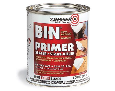 <b>Use stain-blocking primer for toughest stains</b></br> Water-based sealers do a good job most of the time, but for really tough problems like wood knots, yellowed water stains, heavy smoke damage, and other stains that bleed through paint, pigmented solvent-based sealers (BIN and KILZ are two brands) are unbeatable.