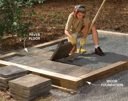 <b>Alternatives to a concrete slab</b></br> Pressure-treated lumber laid on a bed of gravel gives you a fast, easy foundation that will last for decades. Or lay joists on the wood foundation and cover them with plywood, just like the floors in most homes are built.  For a floor that's more durable than plywood, fill the wood foundation with gravel and lay cement pavers, just like for a paver patio. A paver floor allows water to drain through, so it's perfect for a gardening shed and you can rinse the floor clean with a hose.